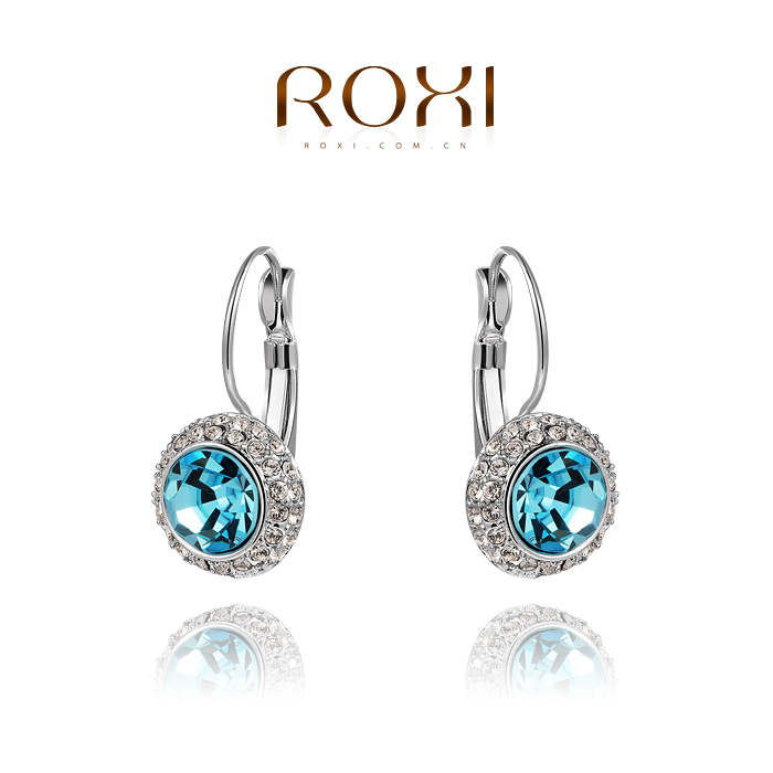 ROXI Christmas platinum Austria blue crystal Earrings,Gift to girlfriend is 100% hand made Classic jewelry,2020003555