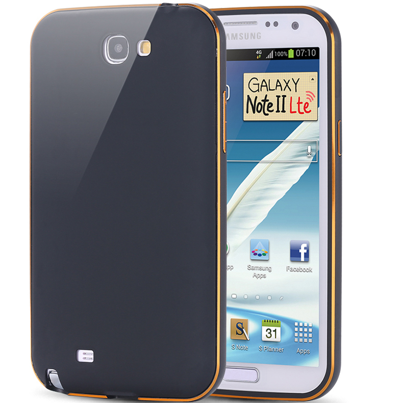 Note 2 Capa Ultra Thin Dual Hybrid Aluminum Metal Frame Case For Samsung Galaxy Note 2 II N7100 Phone Cover Shockproof Shell(China (Mainland))