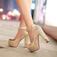Fashion high-heeled shoes thick heel platform paillette gold silver wedding shoes bridal dress shoes formal shoes(China (Mainland))