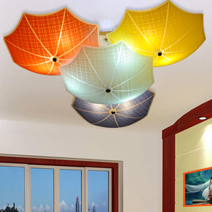 modern children bedroom ceiling lamps multicolour umbrella glass lampshade kids room lights e27. Black Bedroom Furniture Sets. Home Design Ideas