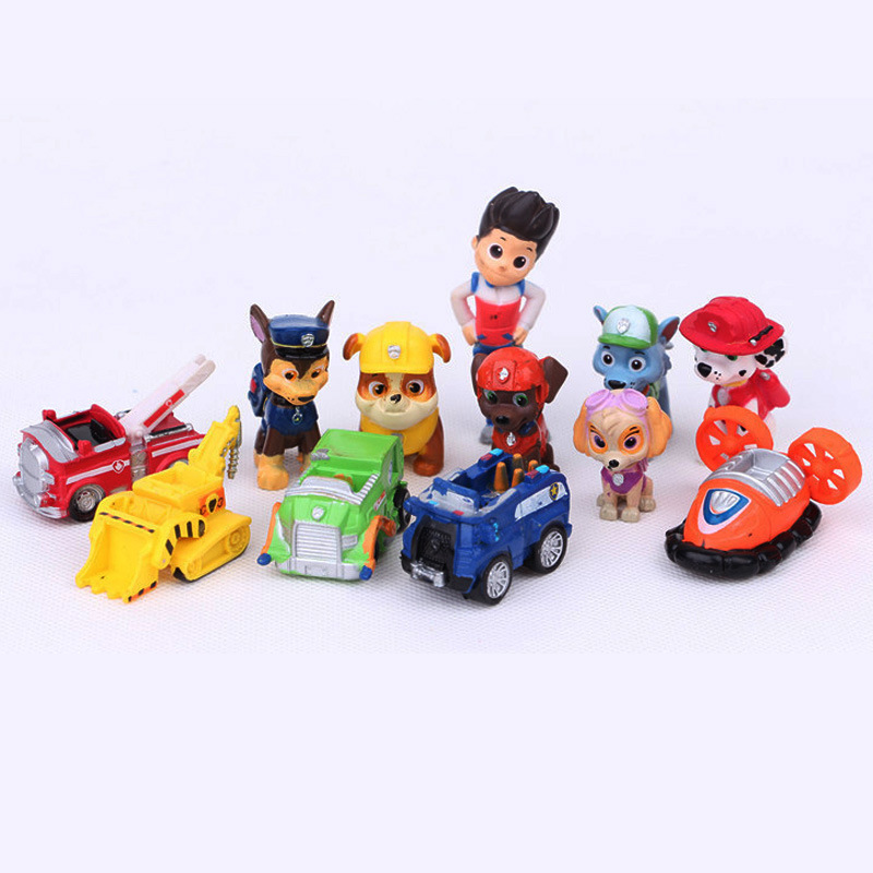 12pcs/set Canine Patrol Dog Toys Russian Anime Doll Action Figures Car Patrol Puppy Toy Gift for Child(China (Mainland))
