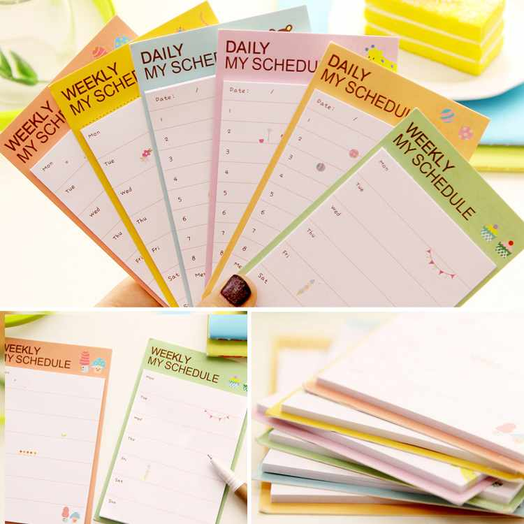 product Cute Daily Planner Sticker Sticky Notes Memo Pad message posted Schedule Organizer Check List Check List  #0988