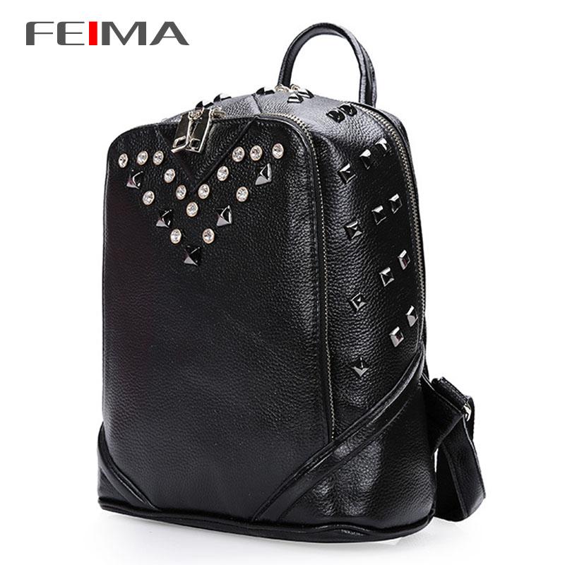 2015 New Women Backpack Rivet Women Genuine Leather Backpacks Travel Backpack Brand Designer Backpack black Pink Yellow 152036
