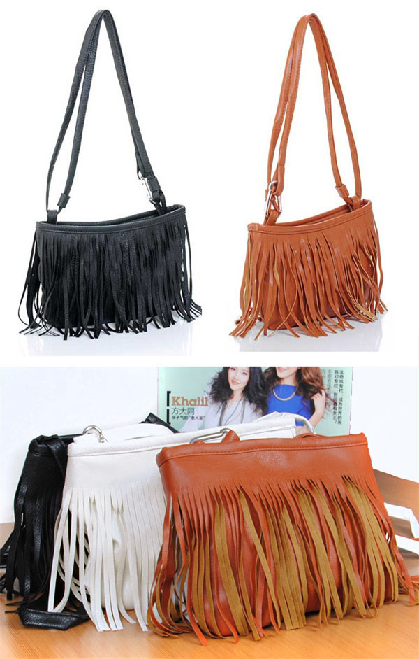 New Fashion Tassel Mini Women Bags Ladies Small Casual PU Leather Fringe Satchel Crossbody Messenger Shoulder Bag Bolso(China (Mainland))
