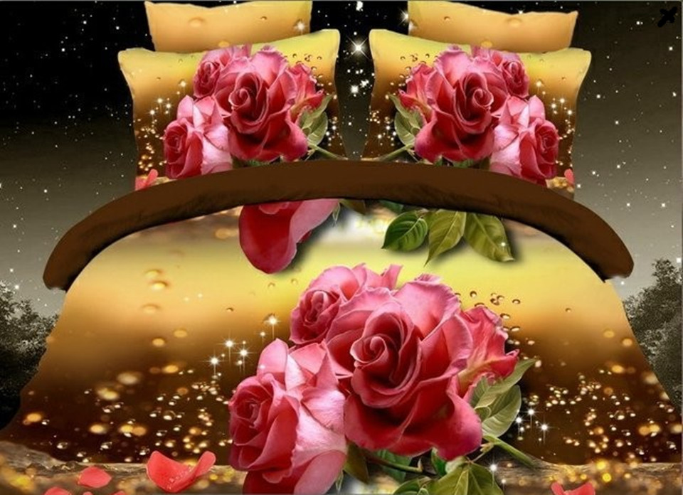 ANN 3d bedding sets queen size Flora/Wolf/Butterfly Printed bedding-set roupa de cama duvet cover bed set bedclothes(China (Mainland))