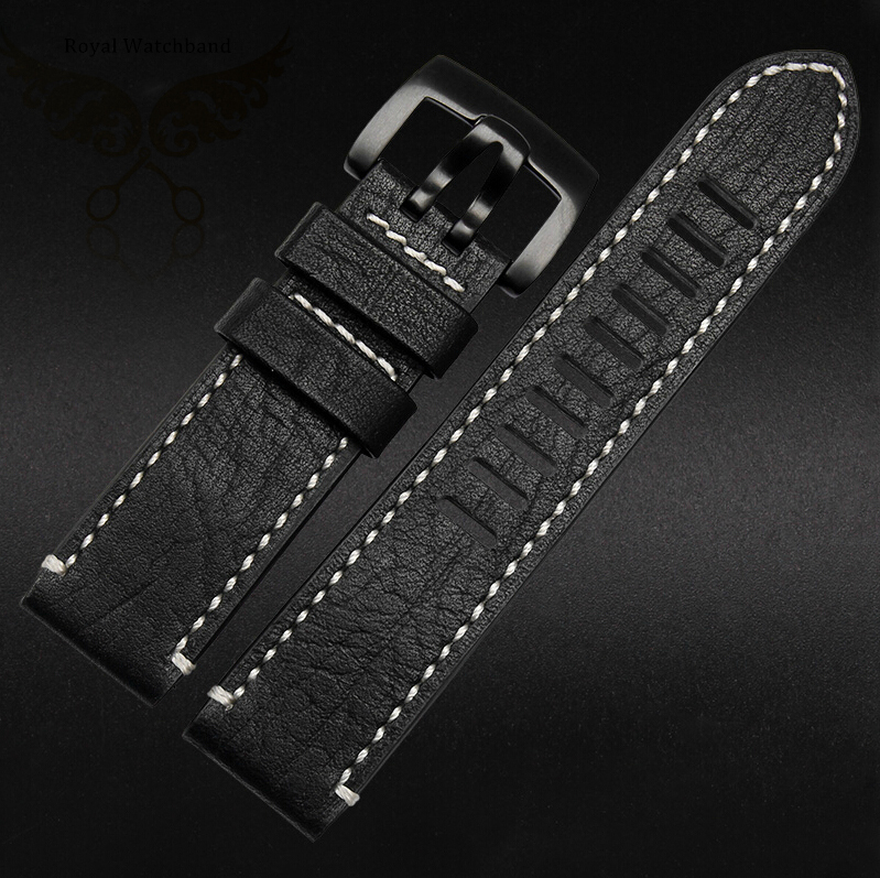 Watch Band 23mm Black New Top Grade Quality Genuine Leather Watch Band Strap Bracelets Black Brushed Steel Watch Buckle CLASP<br><br>Aliexpress