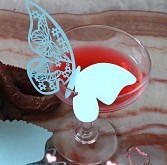 Free Shipping 96pcs Blue Butterfly Name Place Card Cup Paper Card Table Mark Wine Glass Wedding Favors Party Gift Favor(China (Mainland))