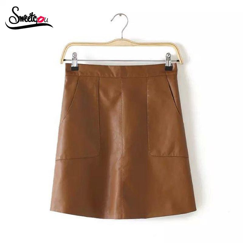 Sweetyou 2015 New Fashion High Waist A-Line Skirts Womens Elegant Slim Lady's PU Leather Mini Skirt All-match Solid Autumn Saias(China (Mainland))