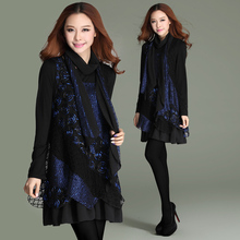 Plus size clothing  spring 2014 loose net fabric patchwork loose big size one-piece dress(China (Mainland))