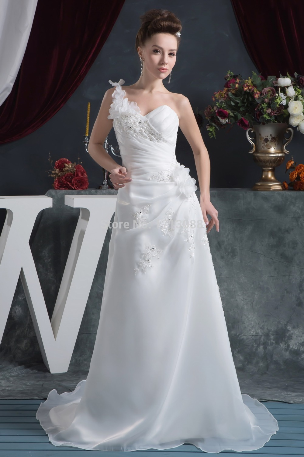 One shoulder wedding dresses with court train sweetheart for Wedding dresses in honolulu