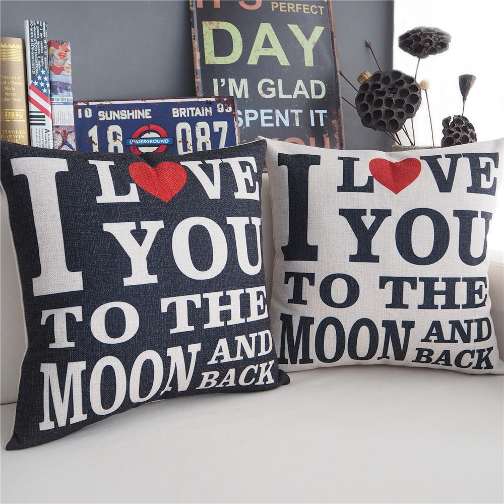 Modern I love you forever pillow Couple models Color cushion Linen pillowcase sofa cushions home decorative