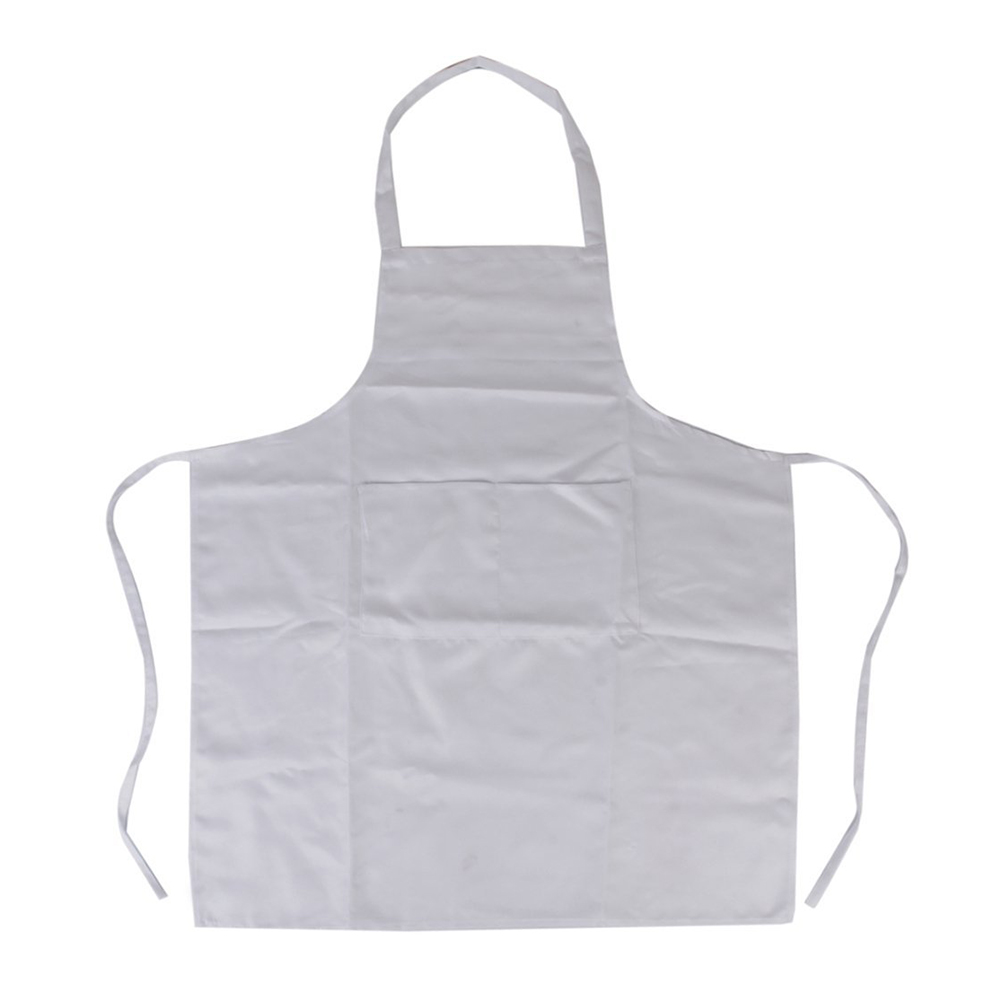 Halter-neck Style Sleeveless Kitchen Cooking Apron with Pocket Cooking Cotton Apron Bib(White)(China (Mainland))