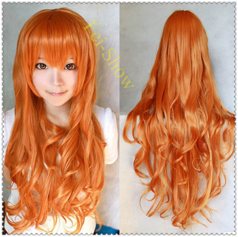 Curly Haircuts Cosplay Harajuku Anime Synthetic Long Orange Hair Wig Heat Resistant Japanese Cartoon Roles Wig Curly Haircuts(China (Mainland))