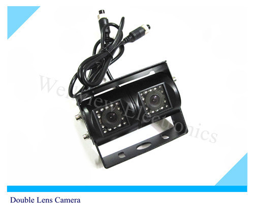 Double Lens Rear Camera CCD for Truck,DC12V input,RCA connector