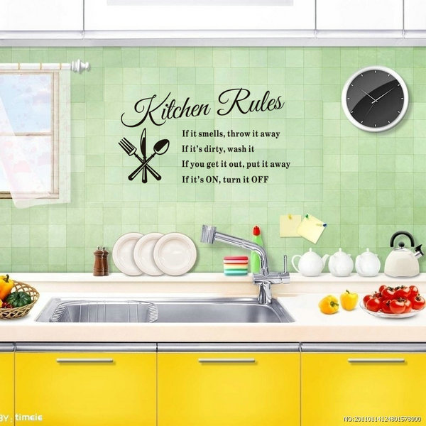 DIY Removable Wall Stickers Kitchen Rules Decal Home ...