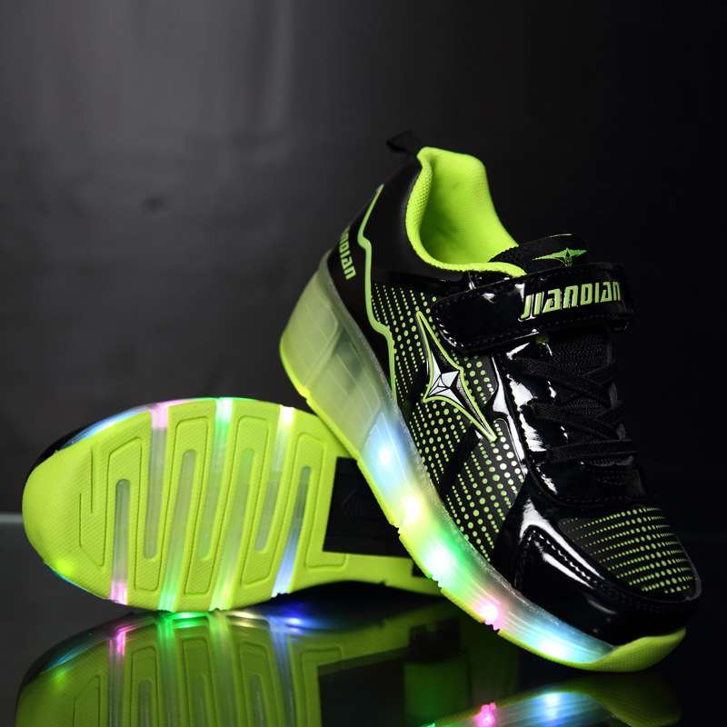 New Arrival Fashion Boys and Girls LED Lighted Roller Skating font b Shoes b font Spring