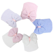 1 Pc Hospital Newborn Hat Baby Girl Cotton Beanie With Bow Newborn Soft Knit Infant Striped Caps Baby Toddler Hat Accessories(China (Mainland))
