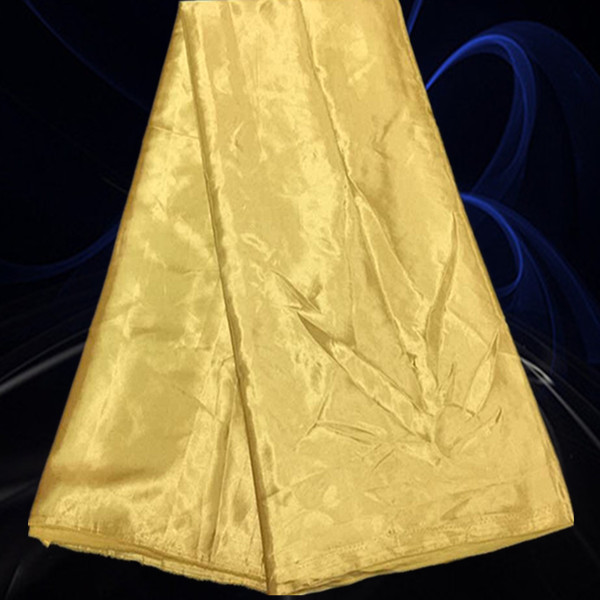 KST64Pure Series Yellow Soft Comfortable Satin Fabric High Class African Nigerian Chiffon Material For Weddng Dress On Promotion(China (Mainland))