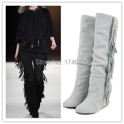 2015 Isabel Marant Motorcycle Knee High Boots Tassel Black Women Winter Boots Lovers Fringe Height Increasing Wedges Shoes Woman(China (Mainland))