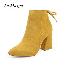 2019 kadın orta buzağı Boots sarı renk sivri burun fermuarlar sonbahar bahar kadın Martin çizmeler rahat dantel-up çizmeler boyutu 35-39(China)