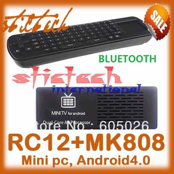 50% shipping fee 5 pieces RC12 Air Mouse Keyboard MK808B Bluetooth Android 4.1.1 Mini PC Dual Core RK3066 Stick TV Dongle MK808(China (Mainland))