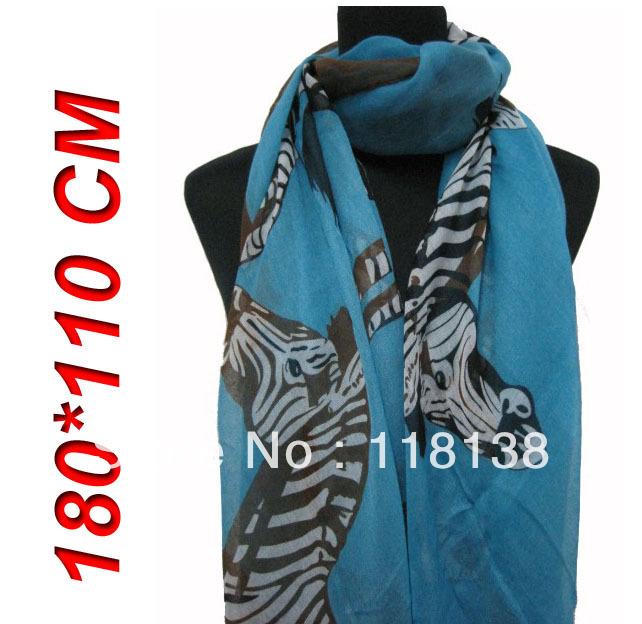 New Style Fashion Women's Big Zebra Animal Print Scarf Shawl Wrap 180cm*110cm, Free Shipping(China (Mainland))