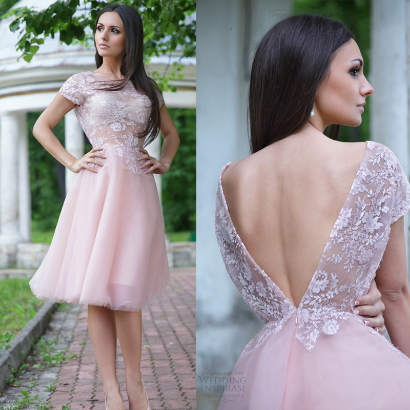 2016 New Short Knee Length Beach Wedding Dresses Blush Pink Short Sleeves Vin