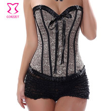 Gothic Floral Embroidered Sexy Corset Overbust Ruffle Trim Victorian  Bustier Corpete e Corseletes Espartilhos