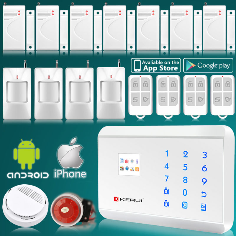 GSM PSTN Home Alarm System Security Intruder System Touch Keyboard Panel ISO Android App Control Wireless Smoke Detector(China (Mainland))