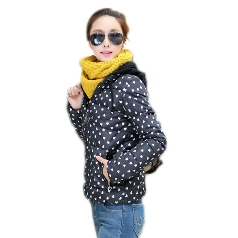Dot print Supper Warm Women Down fashion jacket overcoat warm thicken down cotton slim parka winter women coat snow wear 2015(China (Mainland))