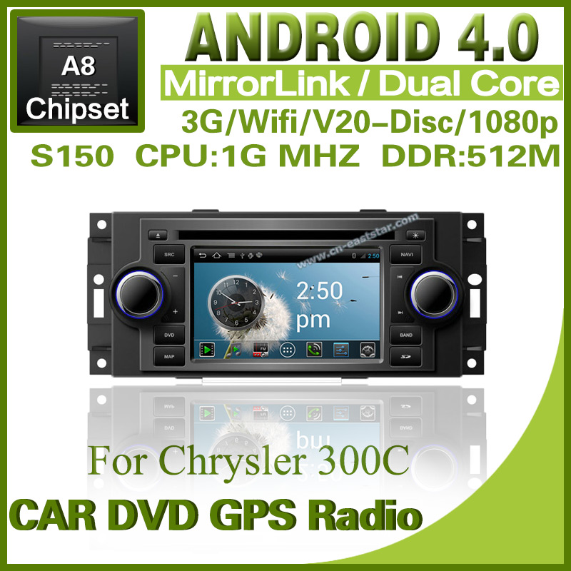 Pure Android 4.0 car dvd for Chrysler 300C Jeep Dodge with steering wheel control dvd GPS radio Bluetooth TV Free shipping 1234S(China (Mainland))