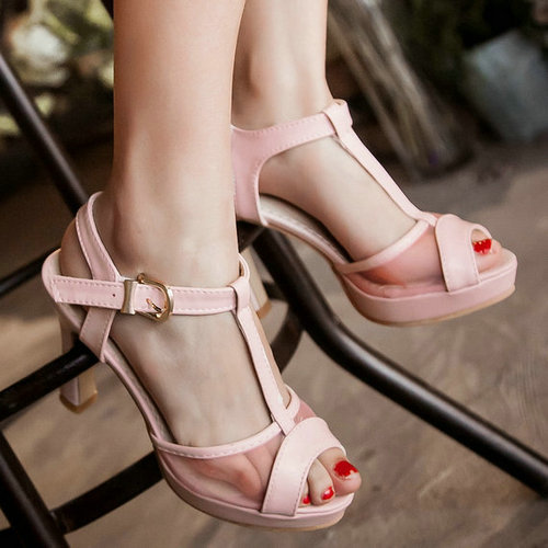 high heel sandal shoes woman 2015 open toe cutouts buckle straps platform heeled sandals summer size 34-43  -  ShenZhen LULU's Electronic Store store