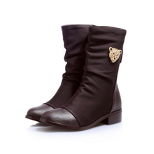 fashion style Soft Leather mid-calf women boots Plus Size 41 42 43 44 45 46 47 Round Toe Boots - LUKU CO., LIMITED store