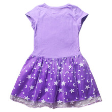 Cleanstock Promotions 2016 Pattern Girl Dress With Mesh Purple Casual Sleeveless A Line Dress For 6