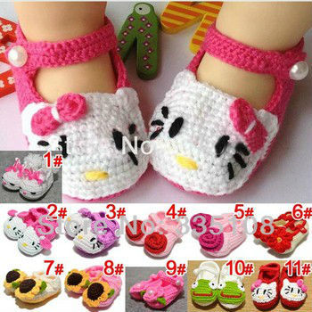 New design handmade crocheted baby shoes Infant First Walkers shoes Toddler shoes Free shipping(China (Mainland))