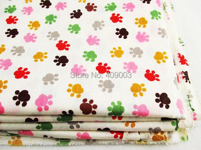 16932 50*147cm 100% cotton multicolor Dogs footprint pattern cotton fabric, DIY handmade patchwork Tissue Kids Bedding textile(China (Mainland))