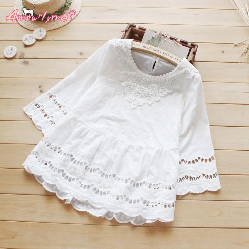 Summer new style women blouse mori girl hollow crochet lace cotton white shirt sweet princess tops Blusas femininos S-XXL