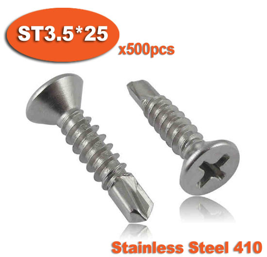 500pcs DIN7504P ST3.5 x 25 410 Stainless Steel Cross Recessed Countersunk Flat Head Self Drilling Screw Screws<br><br>Aliexpress