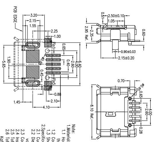 all copper usb female bridge micro usb pins usb interface
