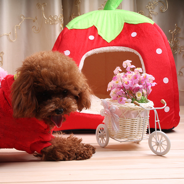 Newest Strawberry Design Dog House For Pet Cat Dog Indoor House Mat Kennel Nest Cage(China (Mainland))