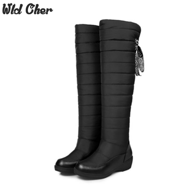 Free 2017 Women Boots Winter Female Waterproof knee high Boots Women's Russia Australia Snow Boots platform