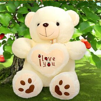 1pcs 50cm Stuffed Plush Toy Holding I Love You Heart Big Plush Teddy Bear Soft Gift for Valentine Day Birthday Girls(China (Mainland))