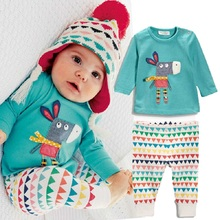 Autumn style Baby Long sleeve pants 2pcs Cotton boy girl toddler set sport suit newborn clothes infant clothing(China (Mainland))