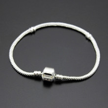 New High Quality Silver Plated Snake Chain Bracelet Diy Silver Bead Charm Fit Pandora Bracelets & Bangles Women Fine Jewelry(China (Mainland))