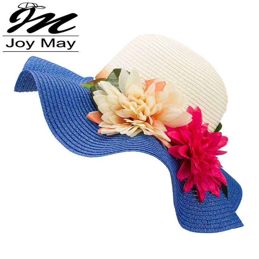 Fashion Mother Daughter Hat Lady Wide Large Brim Floppy Summer Beach Sun Straw Hat Cap with flower Free Shipping C015(China (Mainland))