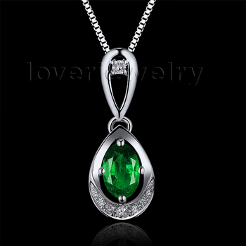 Natural Colombia Emerald Oval 4x6mm 18Kt White Gold Natural Diamond Wedding Pendant WP054