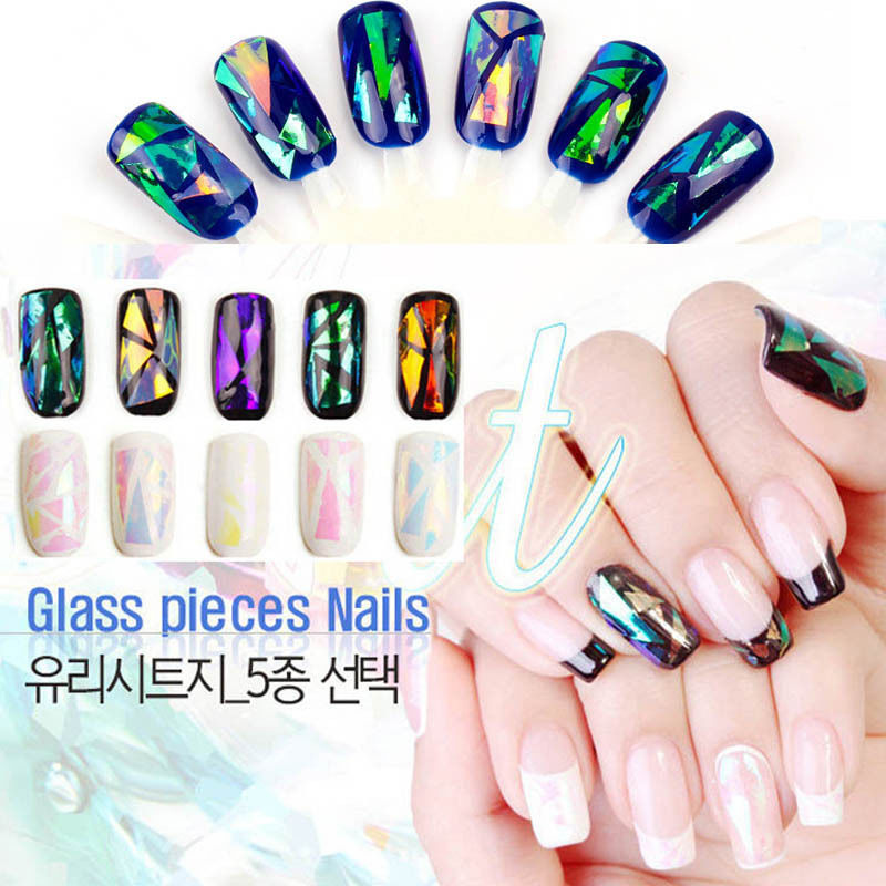 Wholesale 5 Different ColorsNew Broken Glass Pieces Mirror Foil Tips ...