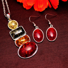 Fashion Women's Vintage Amber Jewelry Women New Statement  Wedding Round Necklace Earrings sets Jewelry Sets Free shipping(China (Mainland))