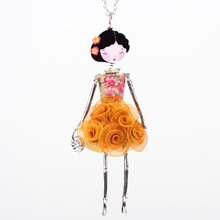 Bonsny French Doll Necklace Dress Flower Long Chain Alloy Pendant Fashion Jewelry For Women 2015 News