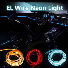 2016 New 5 meter EL Wire Rope For Party Dance Car Decor Neon Light Glow With Controller 10 Colors Choose cigar lighter(China (Mainland))